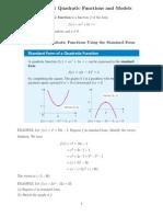 Quadratic Functions and Models