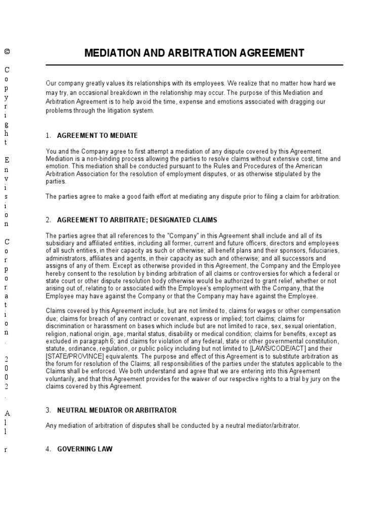Mediation And Arbitration Agreement Arbitration Mediation