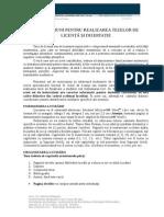 Instructiuni Redactare Licenta Dizertatie
