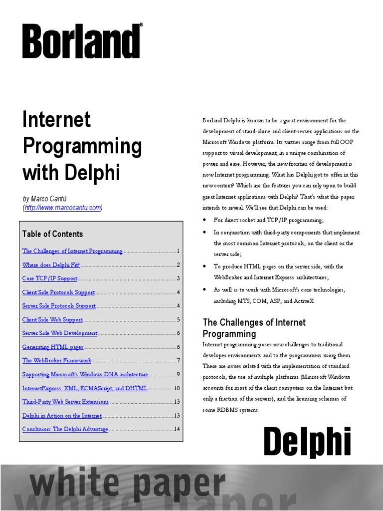 Internet Programming With Delphi (Marco Cantu) | Component