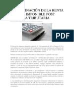 Determinación de La Renta Líquida Imponible Post Reforma Tributaria