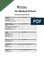 Respiratory Examination Checklist