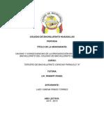 Monografia Causas y Consecuencias de La Drogadicción en Los Primeros Bachillerato Del Colegio Bachillerato Huaquillas