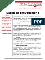GRÈVE EN ECT LES 05 ET 06 DÉCEMBRE 2014    MÉPRIS ET PROVOCATION !