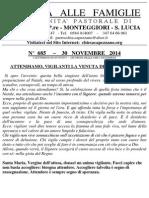 Lettera alle Famiglie - 30 novembre 2014