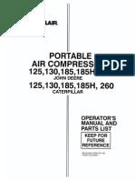 SULLAIR 185 CFM COMPRESSOR OPERATION & MAINTENANCE & PARTS LIST