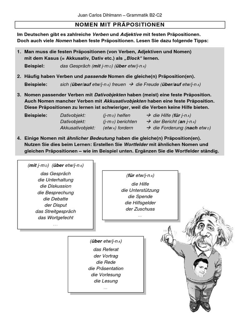 nomen mit verben b2 bersicht dihlmann - Praposition Beispiel