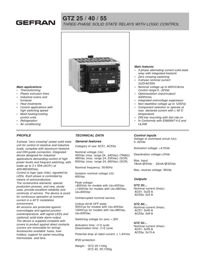 Datasheet Ssr Gtzpdf Relay Power Supply Three Phase Solid State Block Diagram