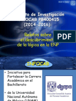 Proyecto de Investigación INFOCAB PB400415 Relatos sobre el descubrimiento  de la lógica en la ENP