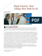 Letter to Pope Francis Your Holiness, Delay Your Visit to Sri Lanka