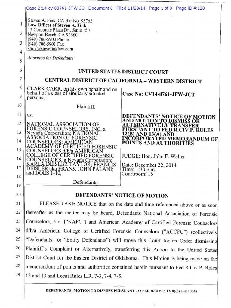 Carr V Nafc Motion To Dismiss