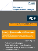 Business Level or Generic Strategies