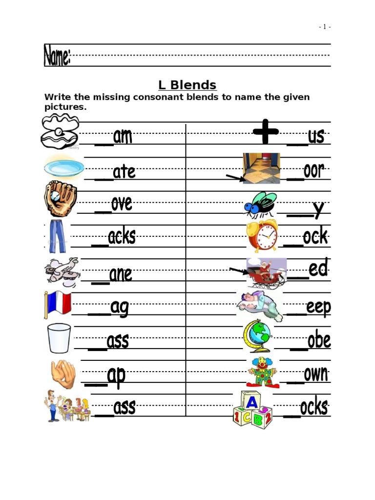 worksheet L Blend Worksheets l blends worksheets