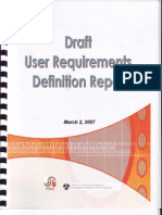 Draft User Requirements Definition Report