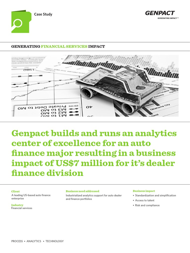 Enterprise Auto Finance >> Genpact Builds And Runs An Analytics Center Of Excellence