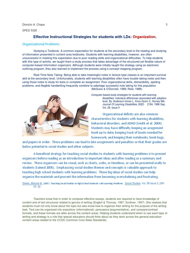 3 Organization Doc Learning Disability Reading Comprehension