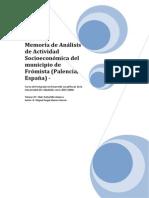Memoria de Análisis de Actividad Socioeconómica Del Municipio de Frómista.