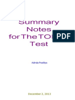 Praditya Adinda Summary Notes for the TOEFL Test