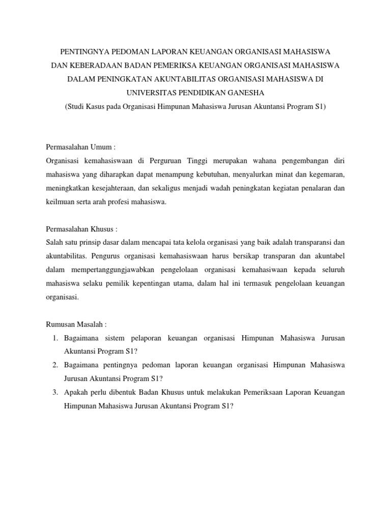 Pentingnya Pedoman Laporan Keuangan Organisasi Mahasiswa Docx