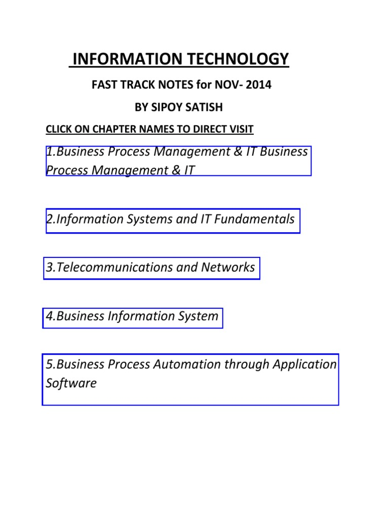 Ca ipcc fast track notes for imformation technology business ca ipcc fast track notes for imformation technology business process management computer data storage malvernweather Choice Image