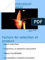 product selection criteria for entrepreneurial project