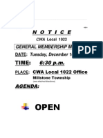 CWA Local 1022 General Membership Meeting Notice, Tuesday, December 16, 2014
