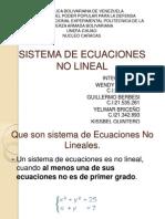 Sistema de Ecuaciones No Lineal.