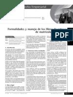 Formalidades y Manejo de Los Libros de Actas y Matricula