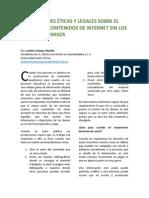 Implicaciones Éticas y Legales Sobre El Uso de Los Contenidos de Internet Sin Los Debidos Permisos