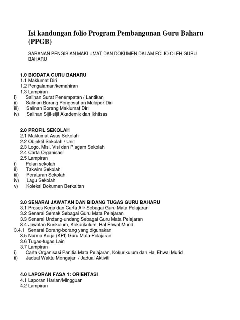 Isi Kandungan Folio Program Pembangunan Guru Baharu