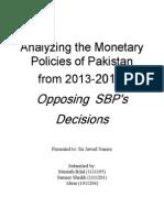 Monetary policies of Pkaistan 2013-2014