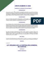 Ley Organica de La Contraloria Decreto Del Congreso 31-2002