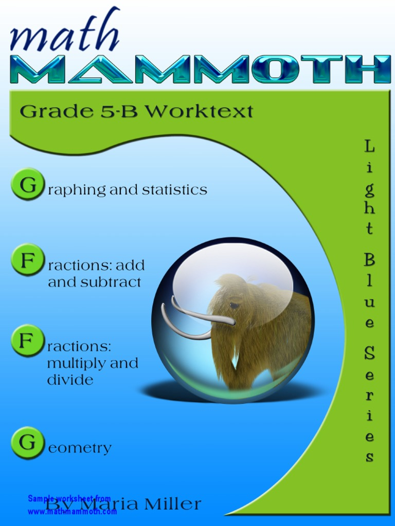 Math Mammoth Grade5B Samples | Fraction (Mathematics) | Multiplication