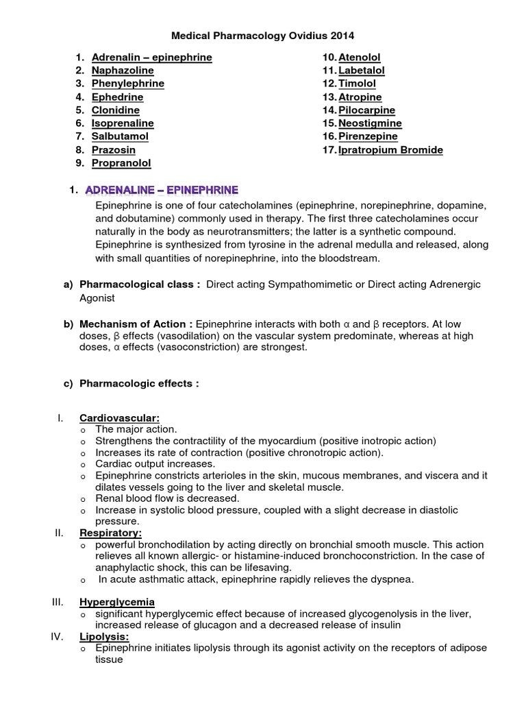 Medical Pharmacology Ovidius 2014 1st Test | Epinephrine