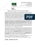 Wise Solutions Bio-1000 & 2000 Hydraulic Fluids Data Sheet