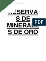 Reservas de Minerales de Oro en el Peru