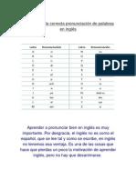 Reglas Para La Corrcta Pronunciación de Palabras en Inglés