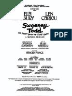 Sweeney Todd Vocal Score