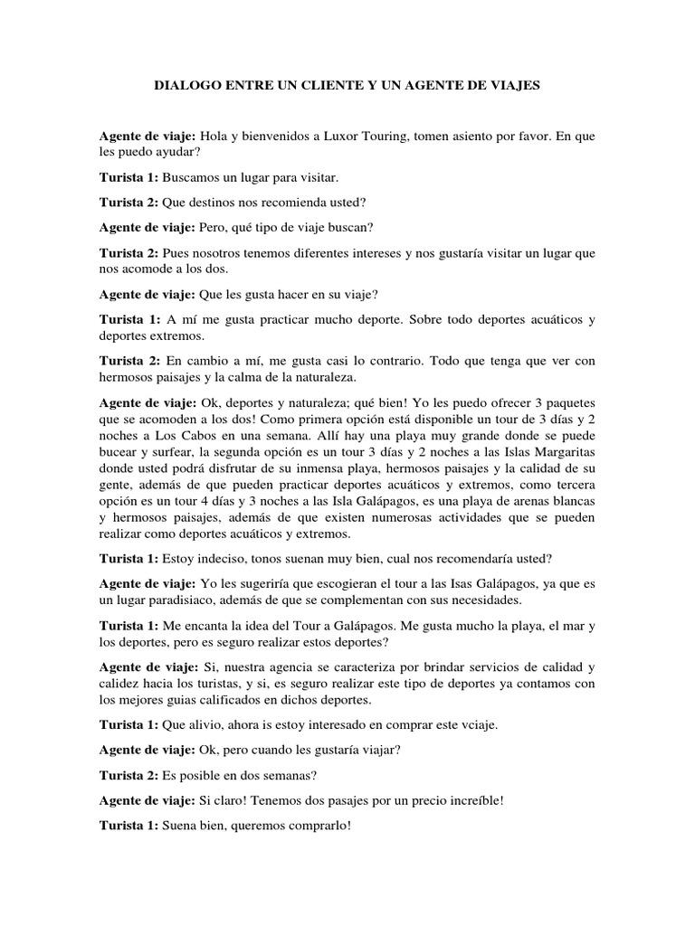 Dialogo Entre Un Cliente Y Un Agente De Viajes Turismo Y Ocio