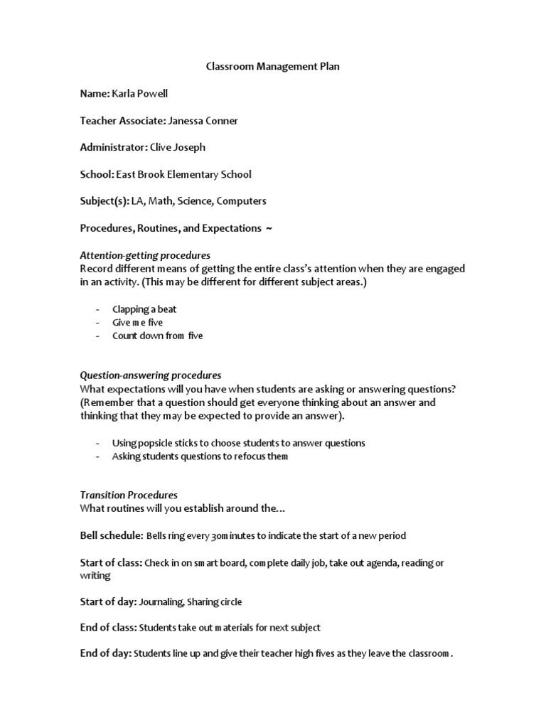 classroom management plan | Classroom | Homework