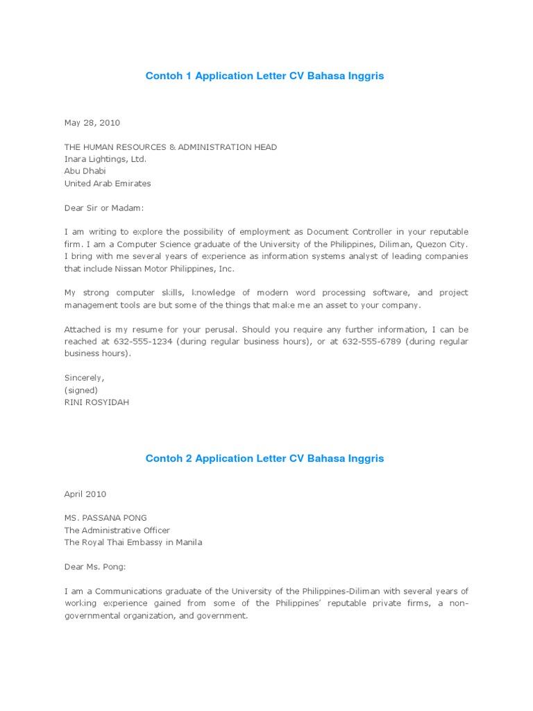 Application Letter Cv Bahasa Inggris Resume Engineering