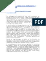 Unidad No. 3 La ética en las Instituciones y OrganizacionesEtica