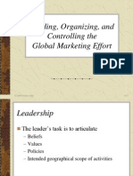Leading, Organizing, And Controlling the Global Marketing Effort