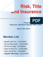 Chapter 1 - 1.5 Risk, Title and Insurance