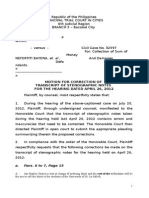 Motion for Correction of Transcript of Stenographic Notes