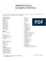 Prepositions in Academic Writing