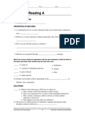 directed reading mixtures   Solution   Solubility