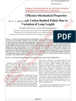 Evaluation of Physico-Mechanical Properties of 1×1 Interlock Cotton Knitted Fabric Due to Variation of Loop Length
