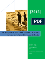 An Analysis of Investors' behavior towards various Investment Avenues in India
