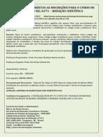 Cursos de Extensão - Redação Científica - Oferecimento 4